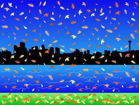 seattle skyline: Seattle skyline in autumn with falling leaves