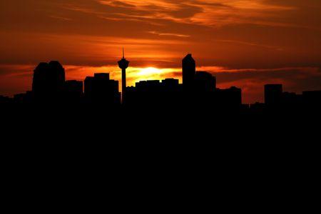calgary: calgary Skyline at sunset illustration Stock Photo