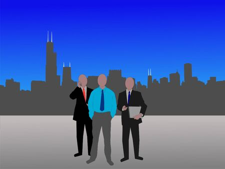 business team and Chicago Skyline illustration illustration