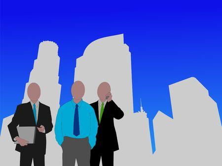 business team and Los Angeles skyline  photo
