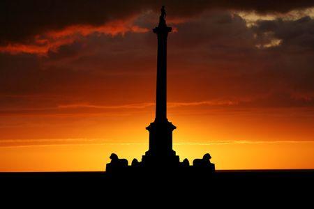Nelsons Column Trafalgar Square at sunset illustration
