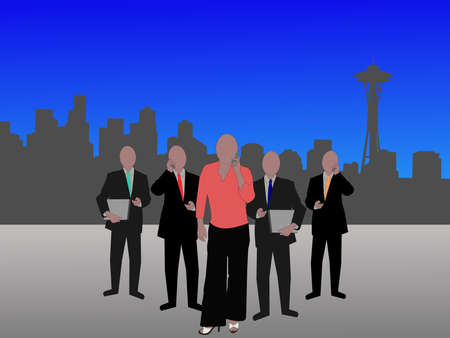business team and Seattle Skyline illustration illustration
