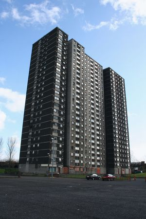 ��low income housing�: low income housing in a Tower Block, Glasgow