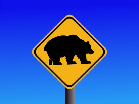 symbol vigilance: warning bear road sign on blue illustration