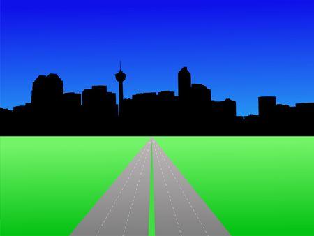 calgary: Calgary skyline with deserted freeway illustration