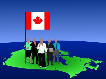 Canadian business team with map and flag photo