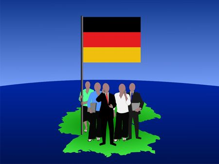 German business team with map and flag photo