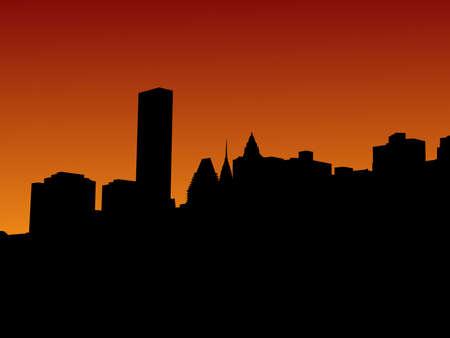 chrysler: Midtown Manhattan skyline at sunset illustration Stock Photo
