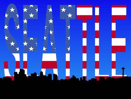 seattle skyline: Seattle skyline with American flag illustration Stock Photo