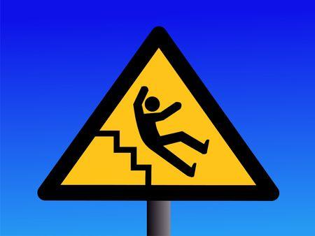 trip hazard: Beware of slippery steps sign on blue illustration Stock Photo