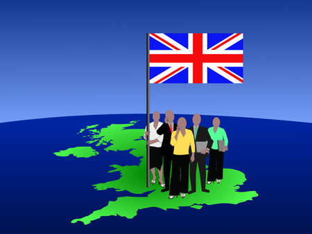 British business team with map and flag