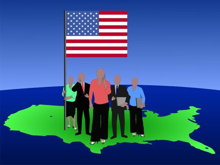 woman cellphone: American business team with map and flag
