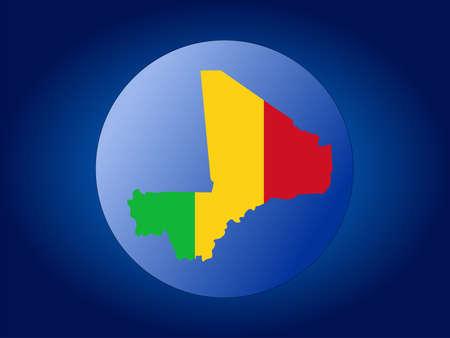 map and flag of mali globe illustration illustration