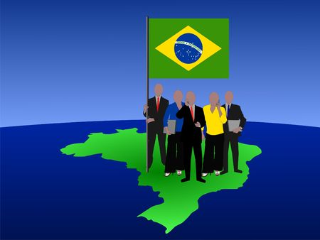 telephone pole: brazilian business team standing on map with flag  Stock Photo