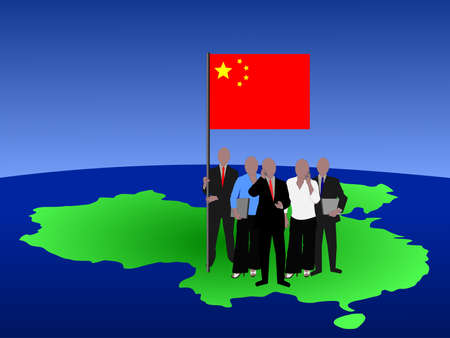 Chinese business team standing on map with flag  photo