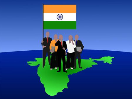 Indian business team standing on map with flag