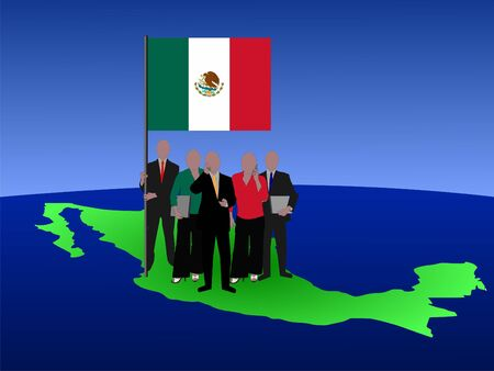 Mexican business team standing on map with flag photo