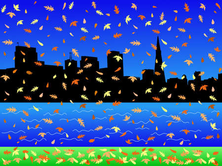 transamerica: San Francisco skyline in autumn with falling leaves