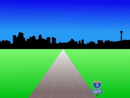 seattle skyline: Seattle skyline with deserted freeway illustration Stock Photo