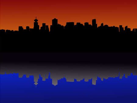 Vancouver skyline reflected at sunset illustration Stock Illustration - 1297597