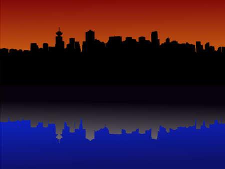 Vancouver skyline reflected at sunset illustration Stock Illustration - 1297597