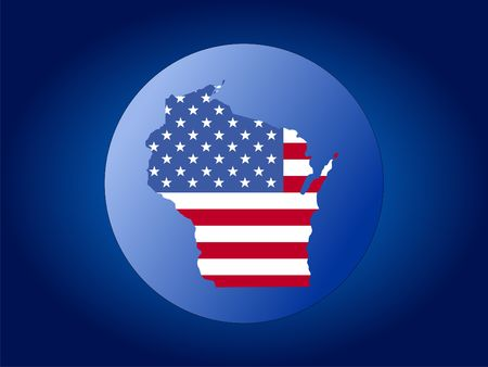 wisconsin: map of Wisconsin and American flag globe illustration Stock Photo