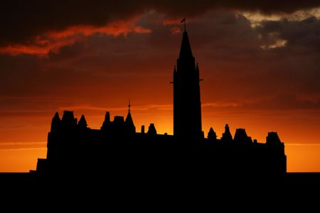parliament: Canadian parliament at sunset with beautiful sky illustration