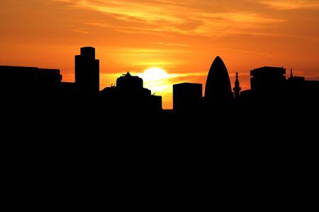 gherkin building: London skyline at sunset with beautiful sky illustration