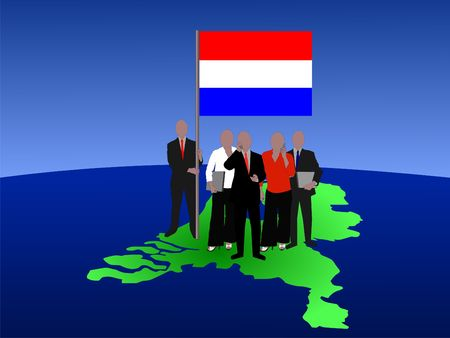 Dutch business team with map and flag photo