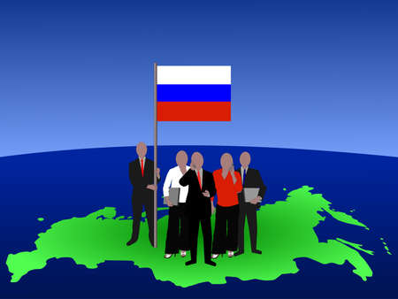 Russian business team with map and flag photo