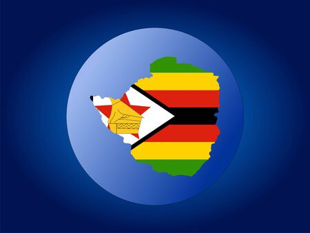 Map and flag of Zimbabwe globe illustration illustration