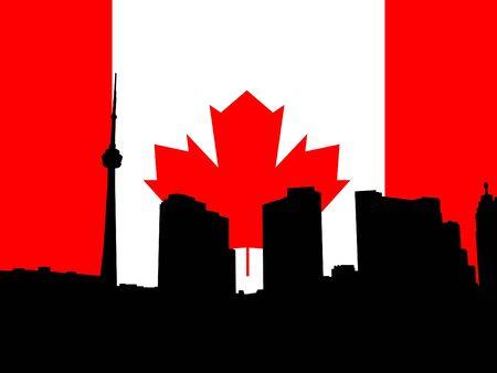 toronto: Toronto skyline with Canadian flag illustration