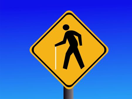 symbol vigilance: square yellow blind pedestrian warning signs