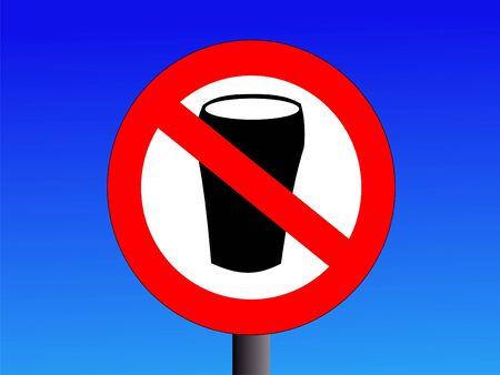 no alcohol sign on blue illustration