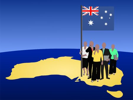 woman cellphone: Australia business team with map and flag Stock Photo
