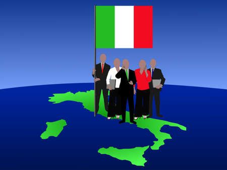 Italy business team with map and flag photo