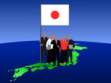 asian man laptop: Japanese business team with map and flag