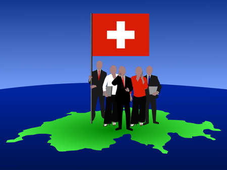 Swiss business team with map and flag photo
