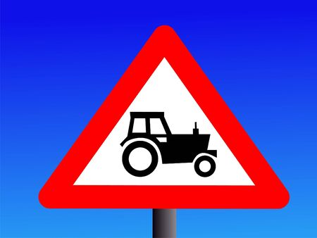 tractor sign: british warning tractor sign on blue