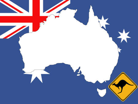map of Australia on Australian flag background photo