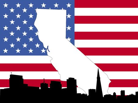 california flag: map of California on American flag with San Francisco skyline