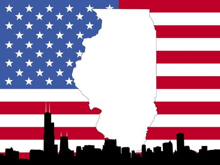 the sears tower: map of Illinois on American flag with Chicago skyline