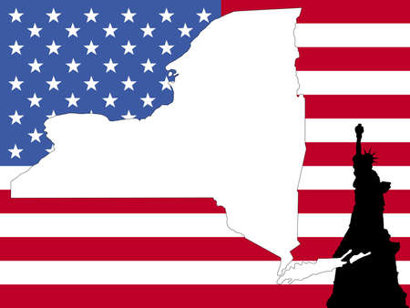 new york map: map of New York on American flag with statue of Liberty