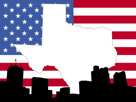 map of Texas on American flag with Dallas skyline photo