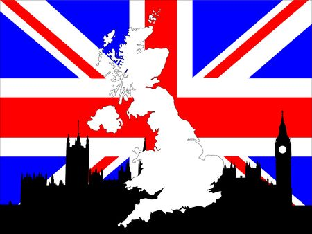 parliament: map of UK on British flag with Houses of parliament background