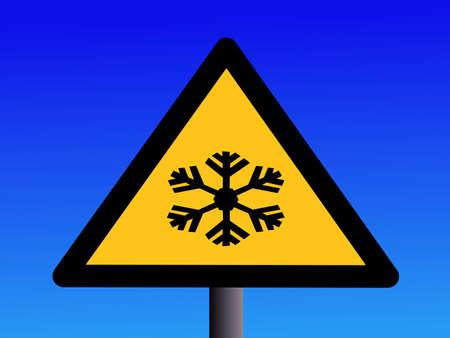 Industrial hazard symbols extreme cold on blue illustration illustration