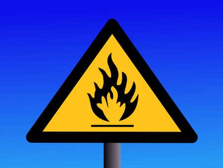 Industrial Hazard Symbols Flammable On Blue Illustration Stock Photo
