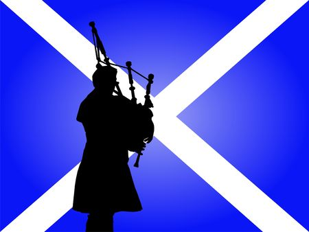 scottish man in kilt playing bagpipes with flag photo