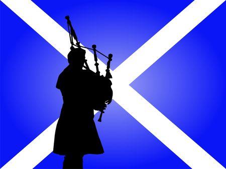 scottish flag: Scottish uomo in kilt che giocano con cornamuse bandiera