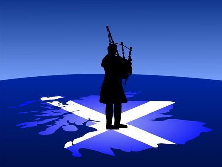 scottish man in kilt playing bagpipes standing on map of scotland photo